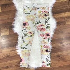 Chaser Cream Floral Print Leggings Size Large